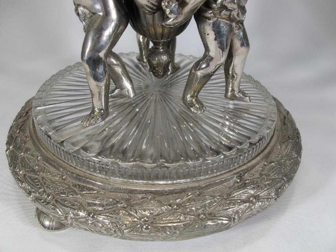 Huge Baccarat style silver-plate glass centerpiece - 4