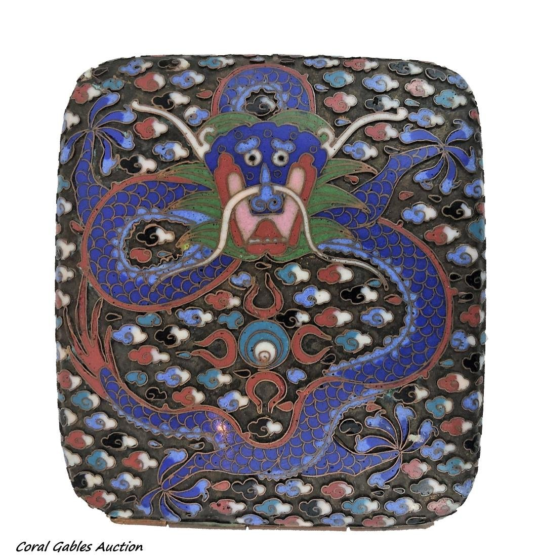 Chinese enamel and bronze cigarette case
