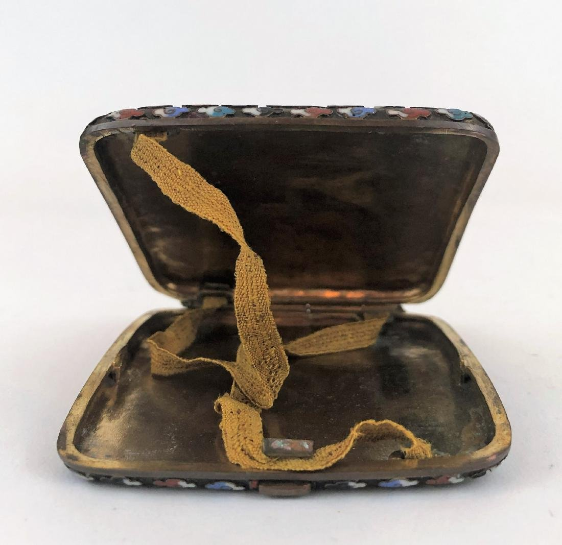 Chinese enamel and bronze cigarette case - 2