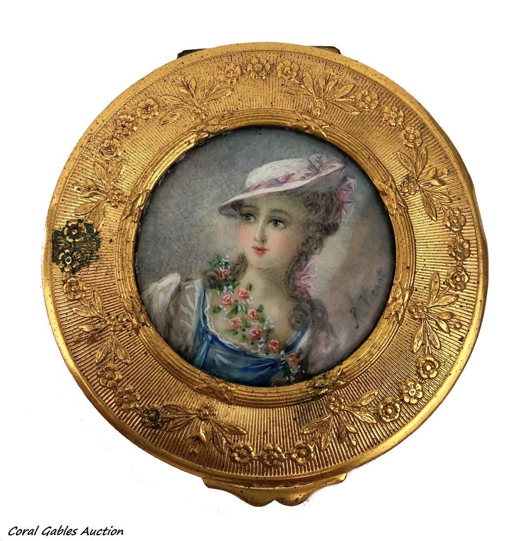 Vintage Powder Box Casket gilt Bronze  miniature