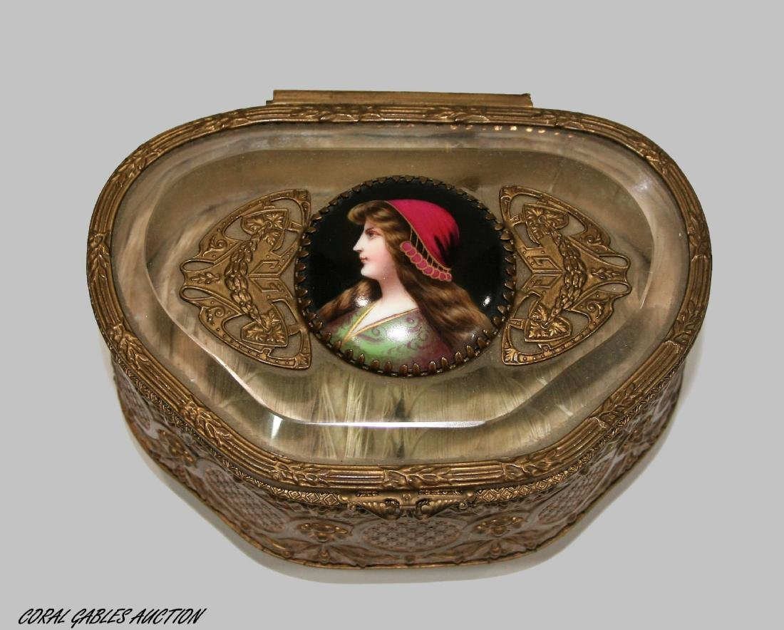 Antique French Bronze Crystal Jewelry Box Trinket