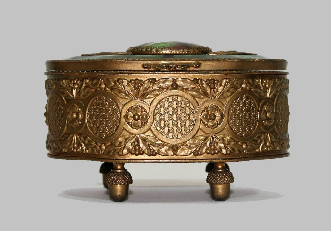 Antique French Bronze Crystal Jewelry Box Trinket - 2