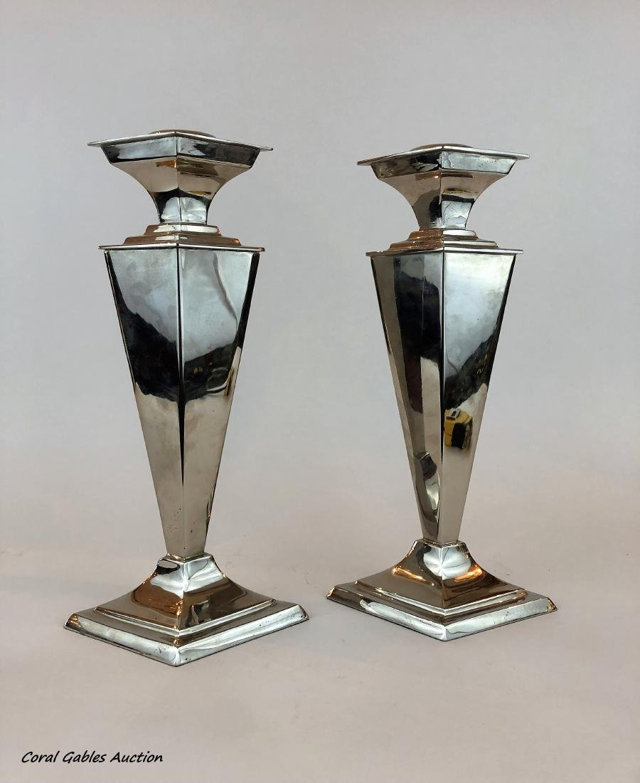 Pair of silver plate candlesticks of the 20th century