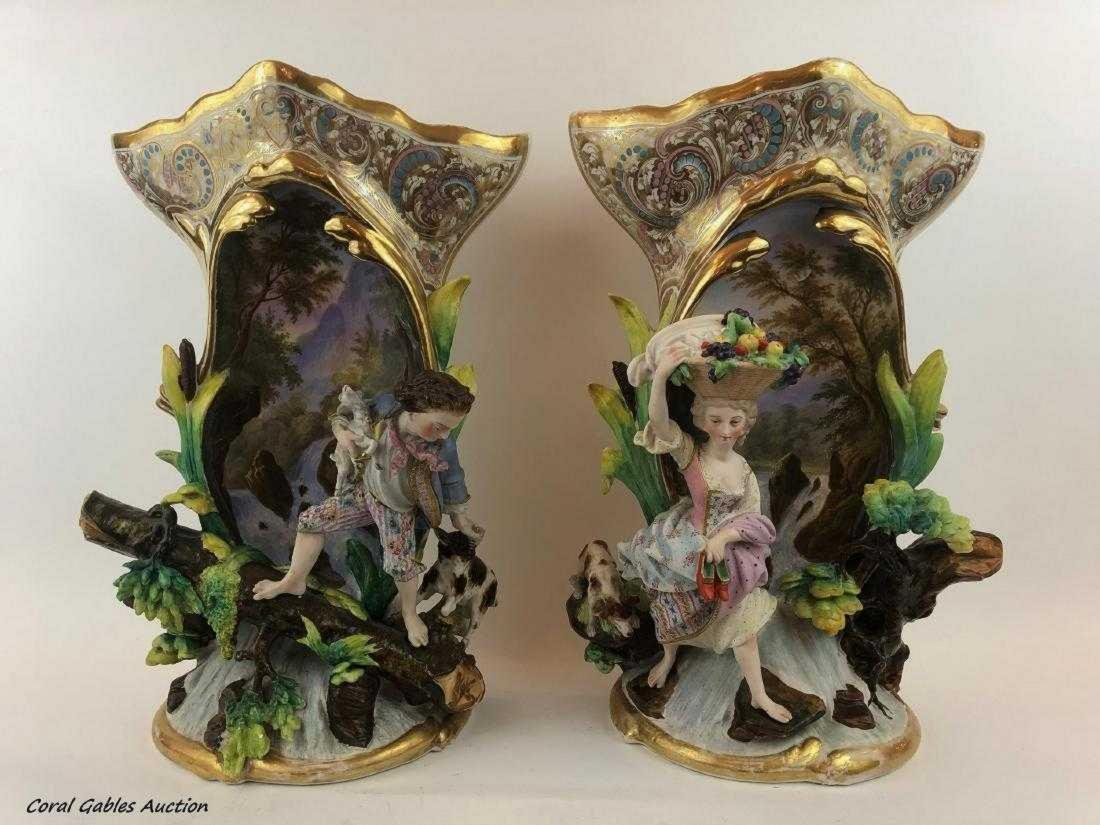 Pair of Old Paris Porcelain Vases