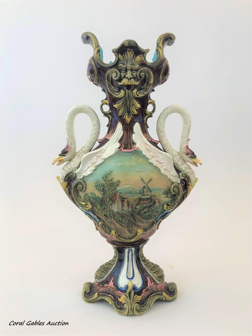 Antique French Majolica Amphora vase signed