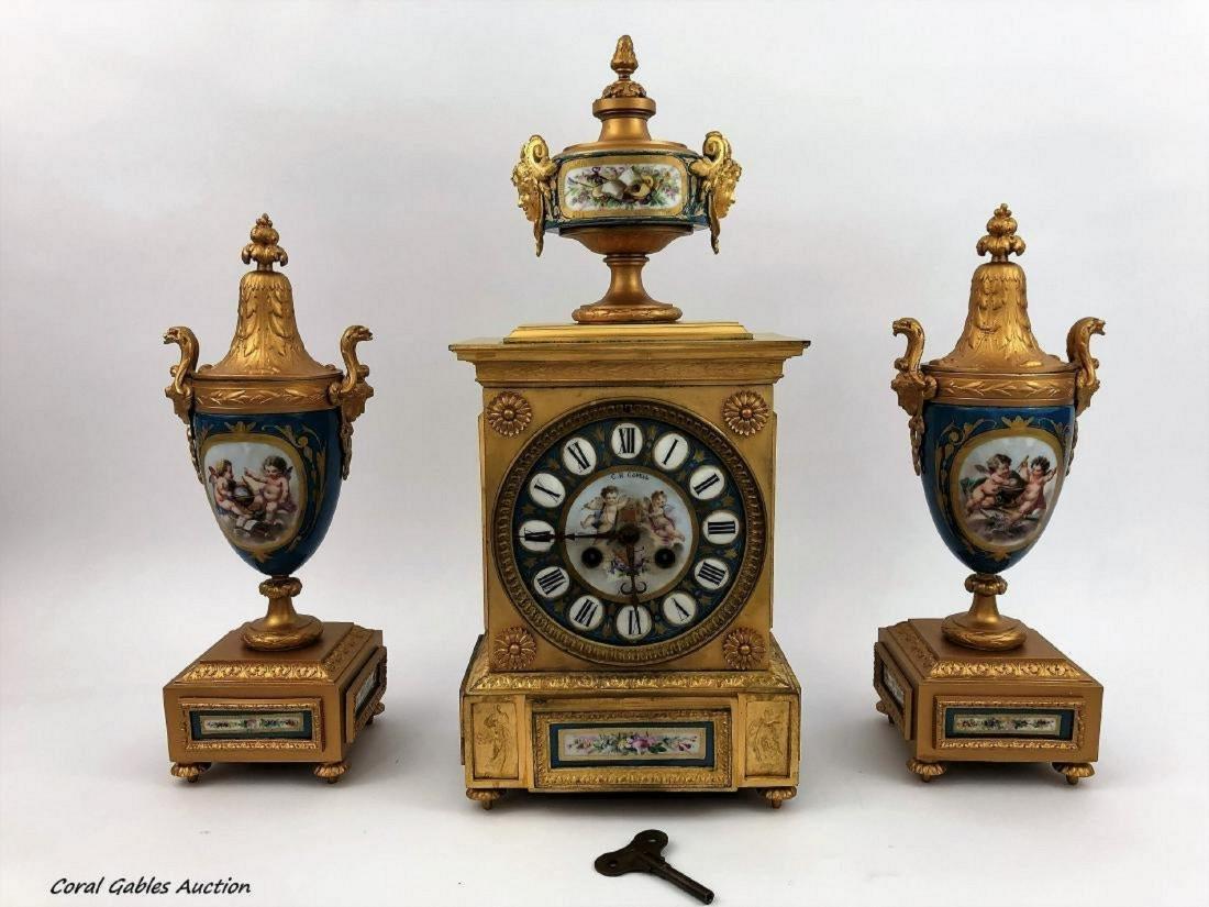 Sevres Style Porcelain and Gilt Bronze Clock