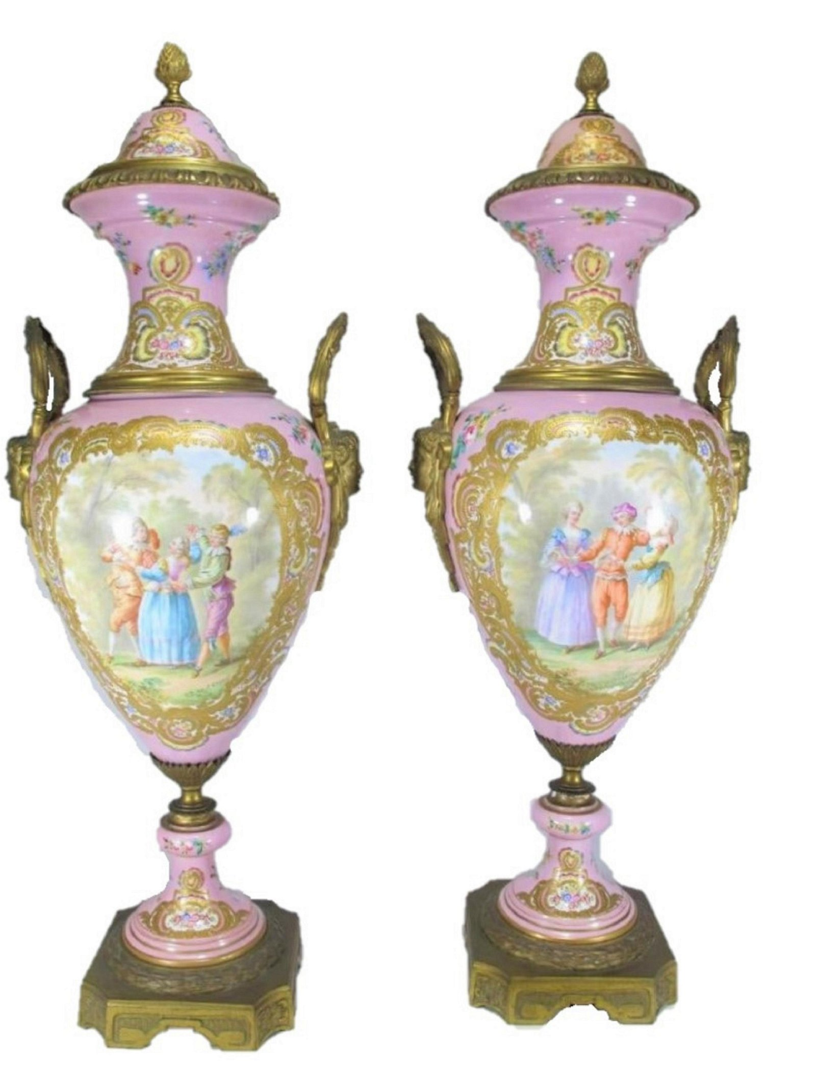 19th C French Sevres pair of porcelain & bronze urns