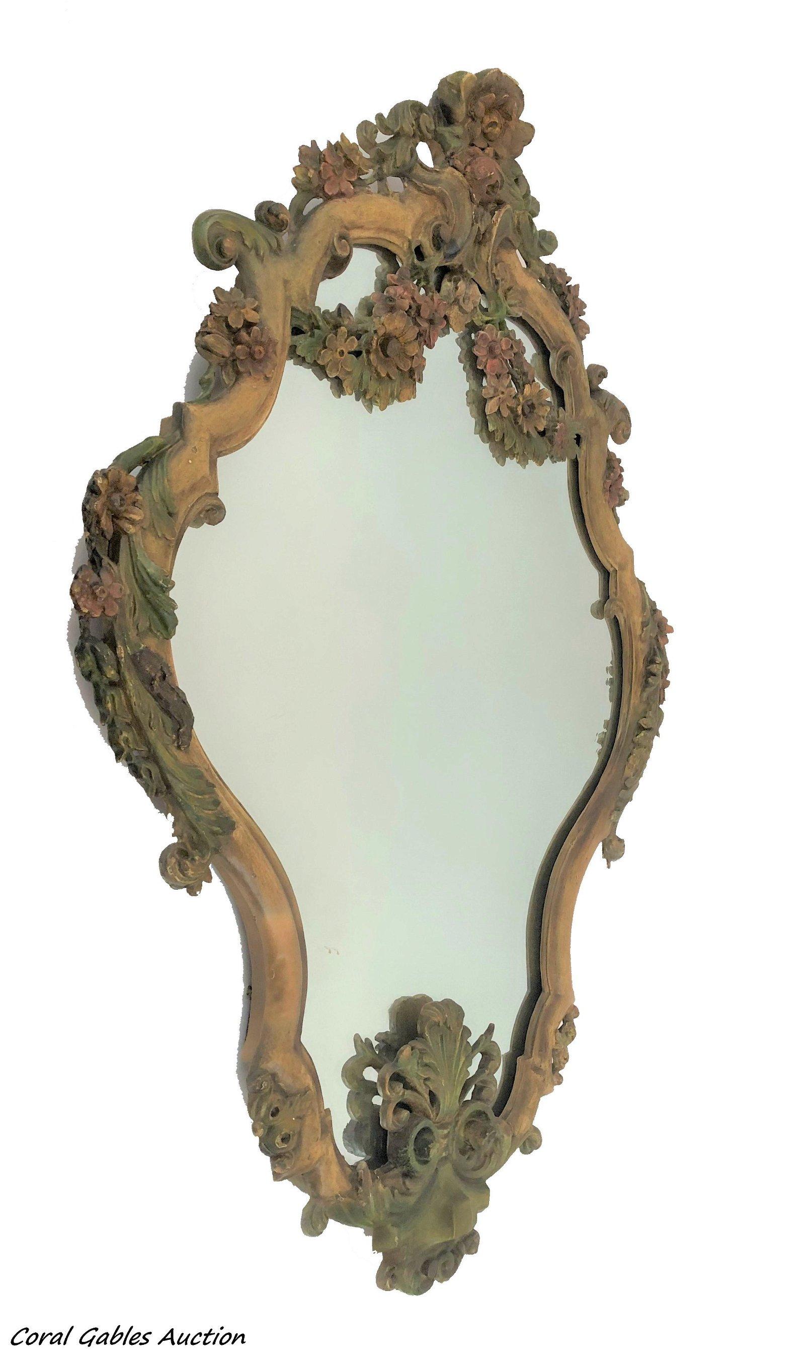 Antique Pair Of Venetian Hand Carved Wood Mirror