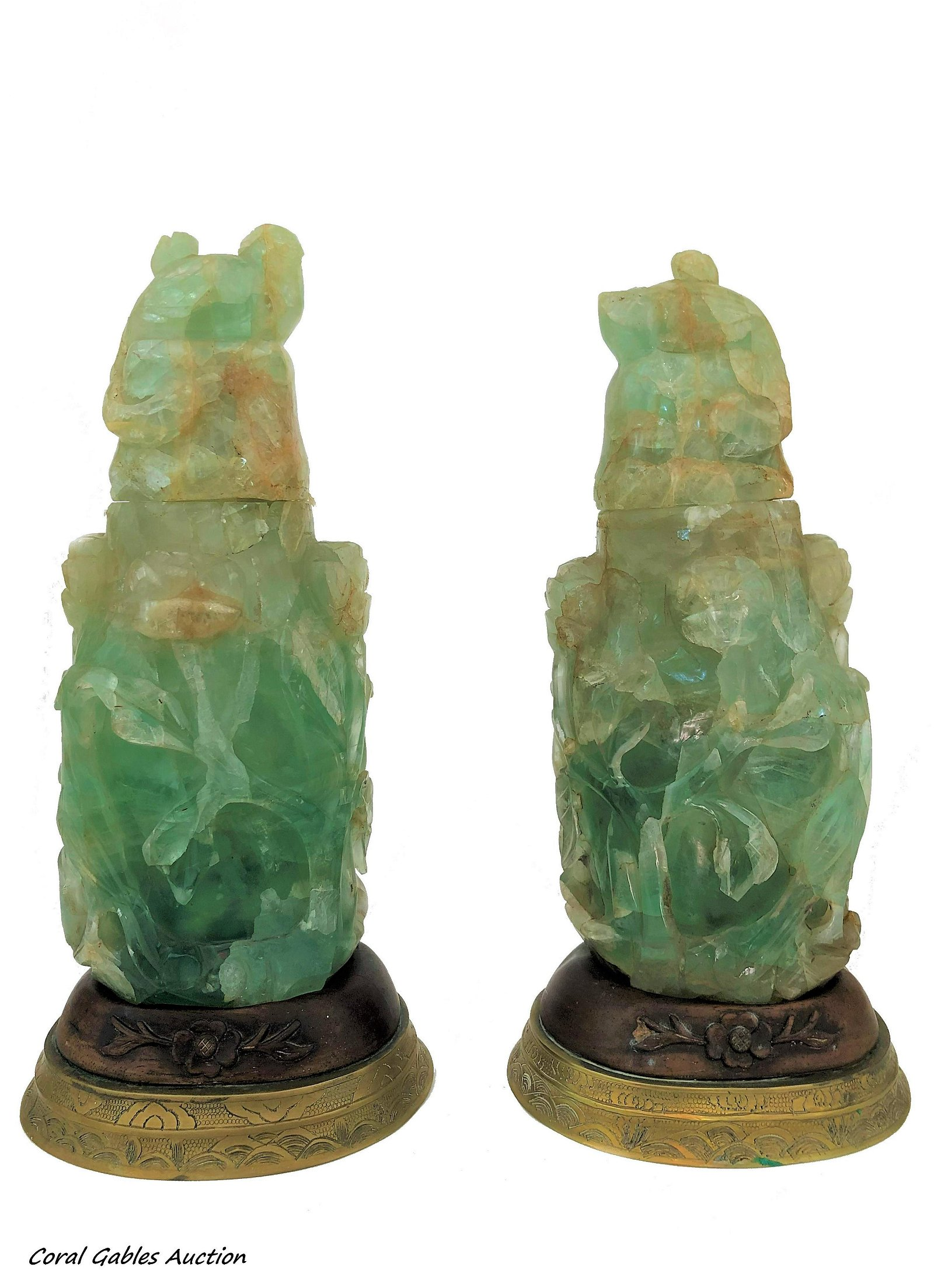Pair Antique Chinese Carved Green Quartz Lamps