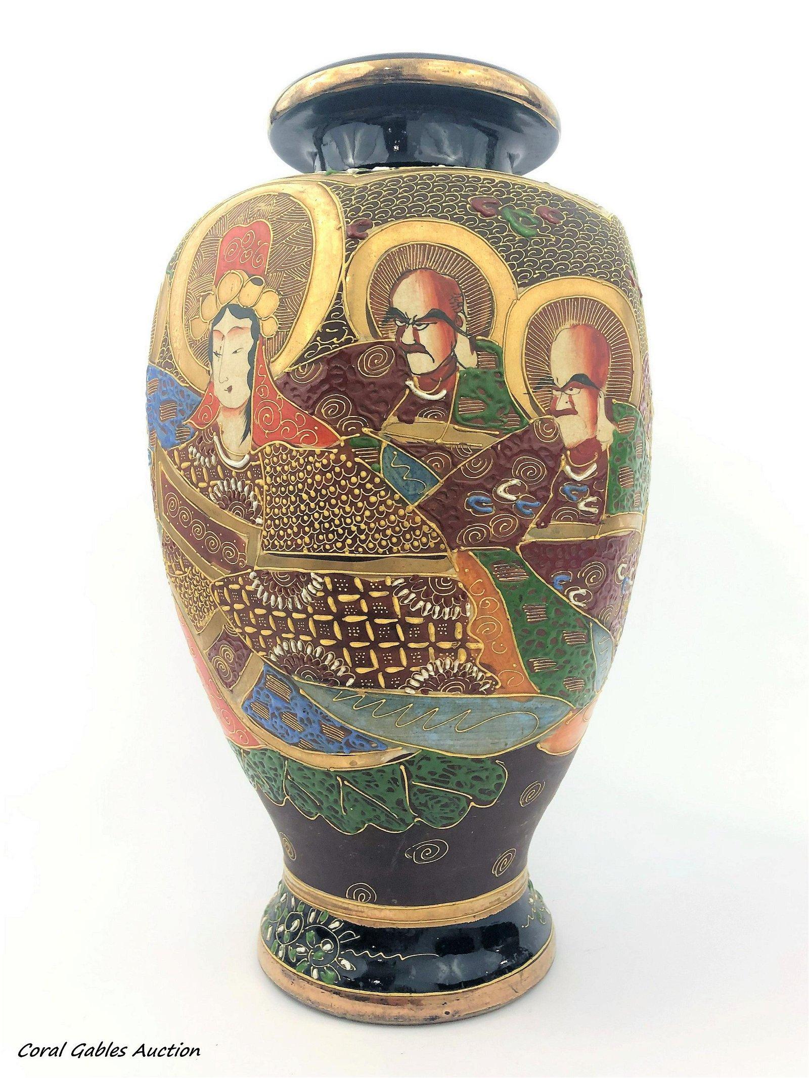 Antique Japanese vase hand-painted satsuma style