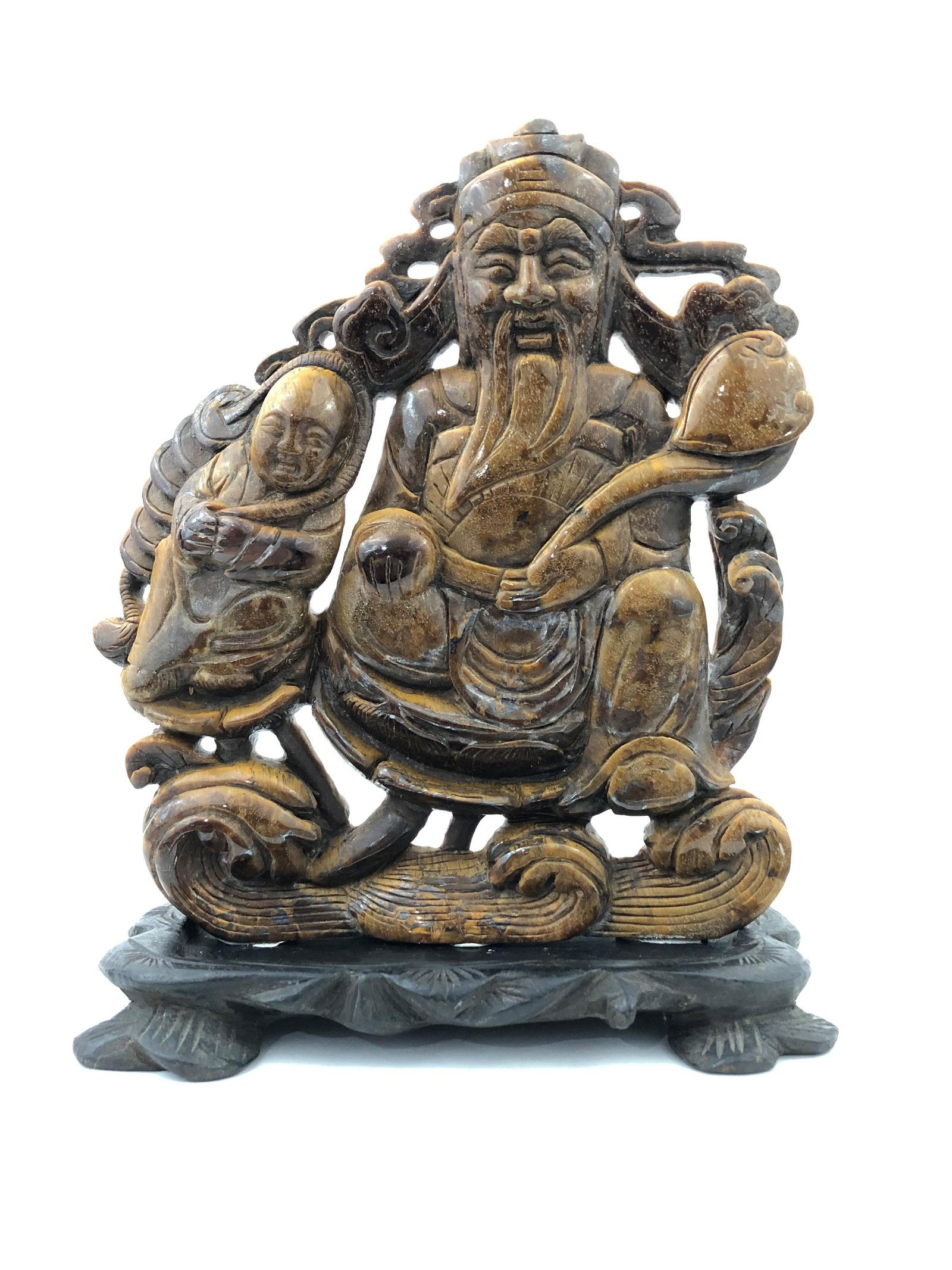 Chinese Carved Tiger Eye Figure