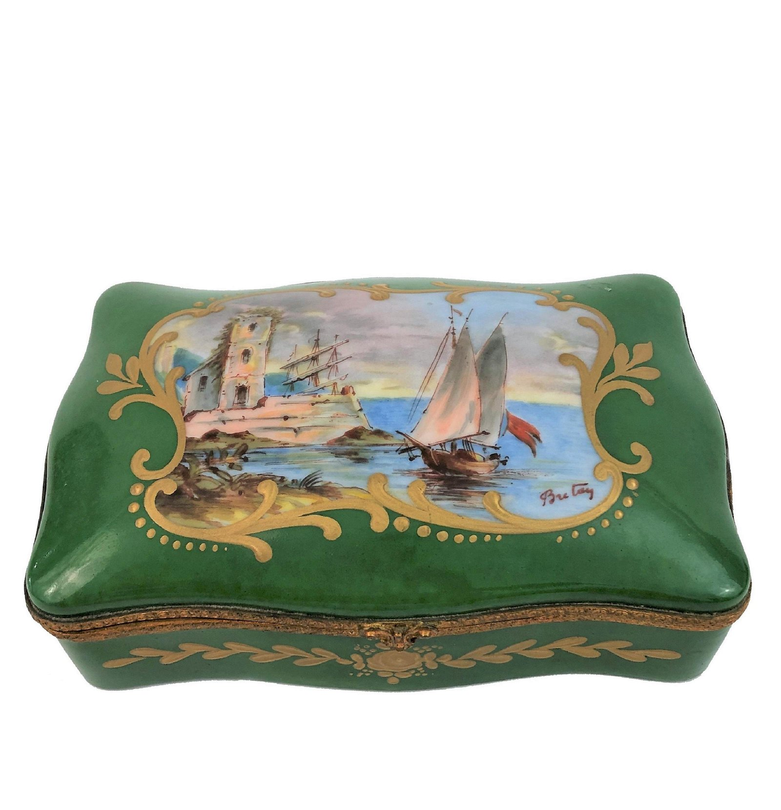 Mid Century French Porcelain Box Signed Sevres