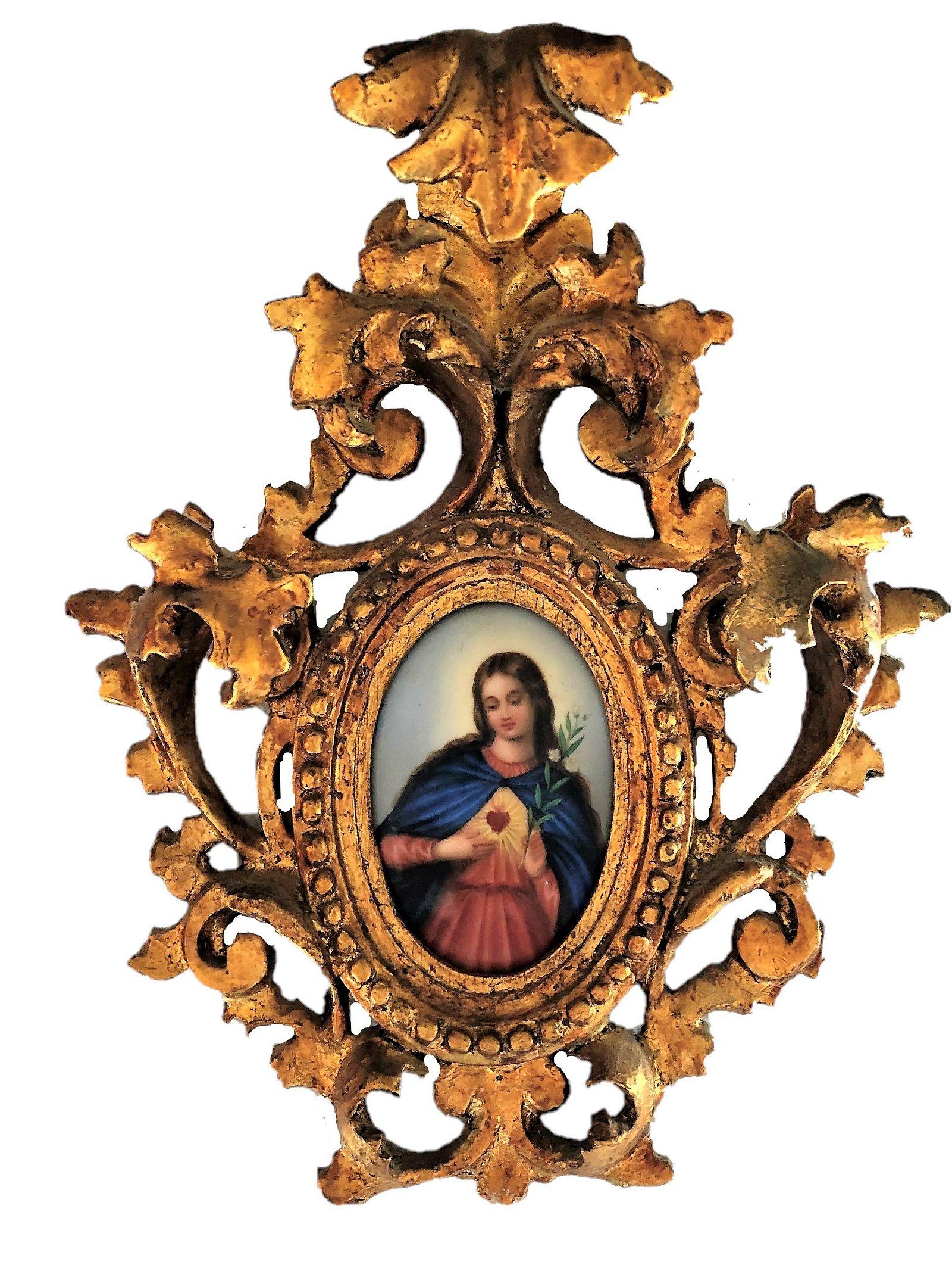 Antique Hand Painted Religious Porcelain Plaque.
