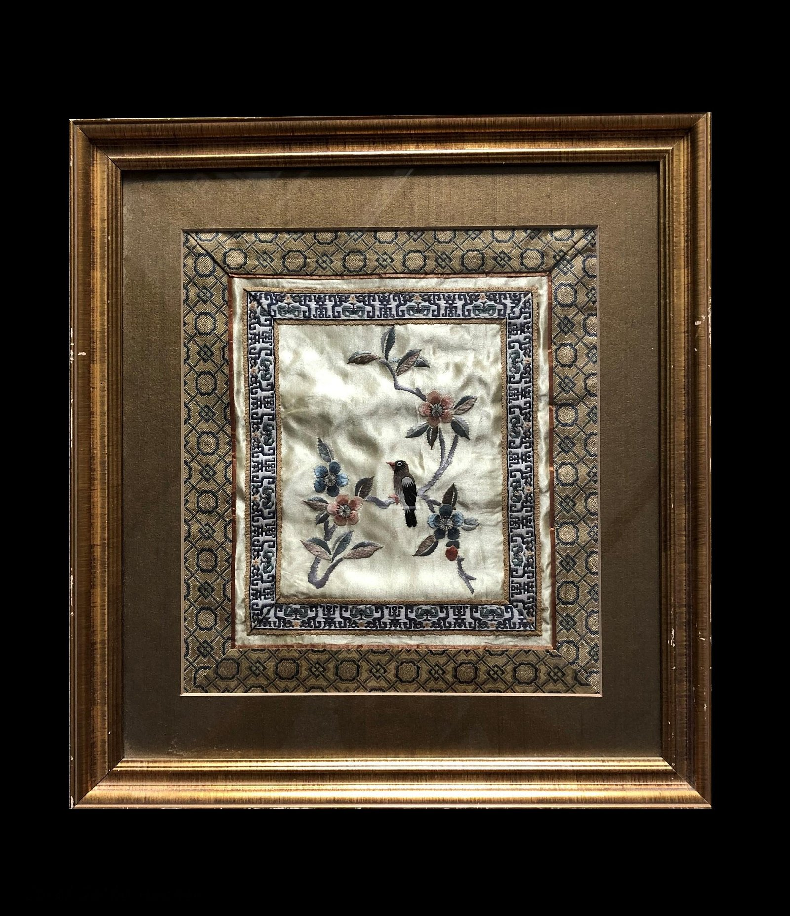 Framed Chinese Embroidery on Silk.