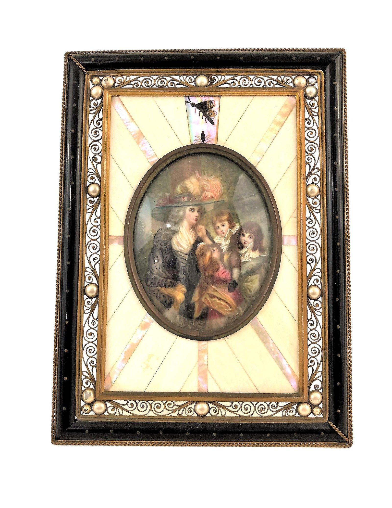 Antique Hand Painted Miniature Framed Portrait