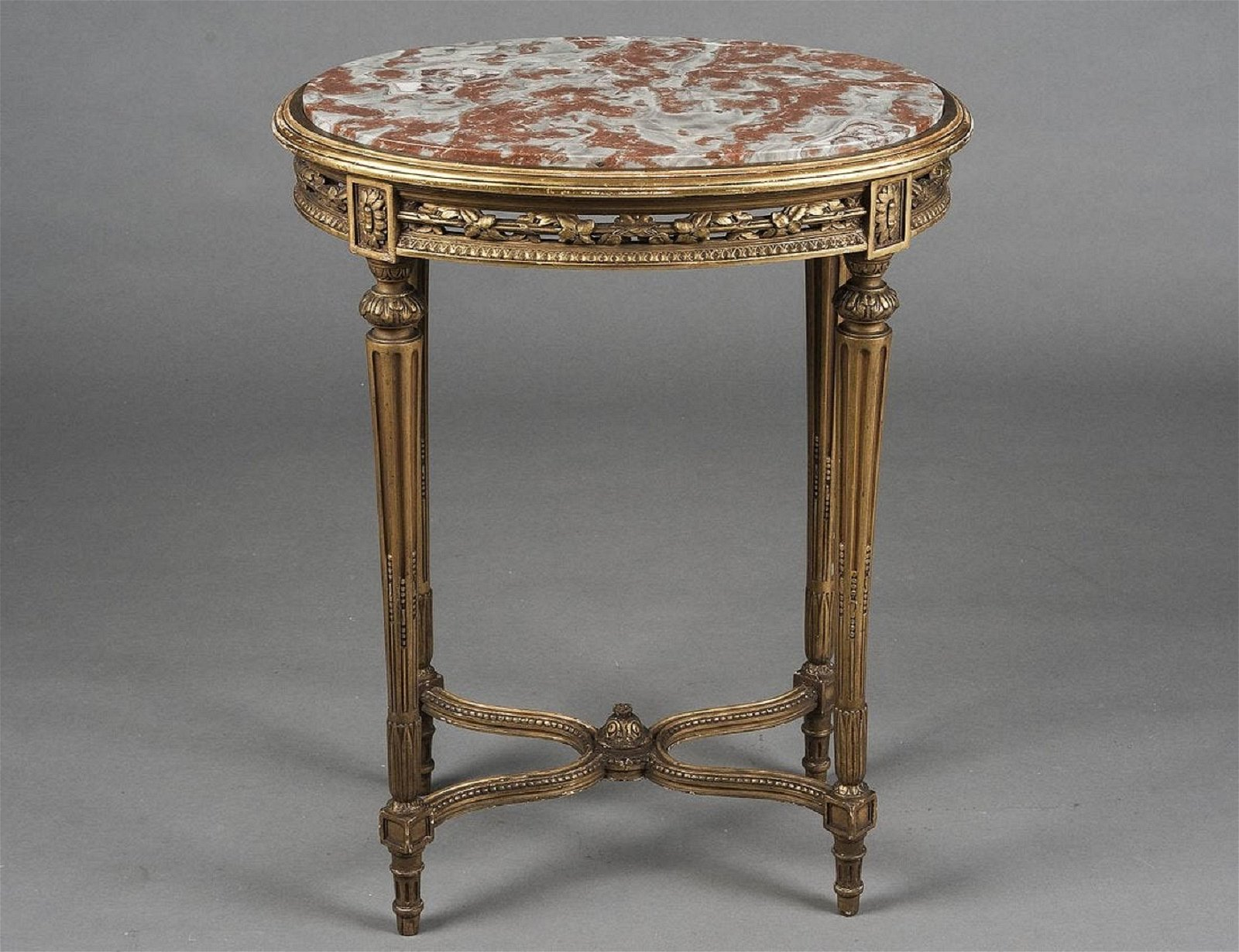 LOUIS XV STYLE CARVED AND GILTWOOD SIDE TABLE