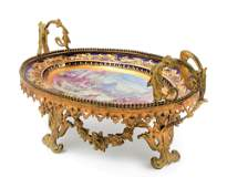 French Sevres Gilt Bronze Mounted Painted Centerpiece