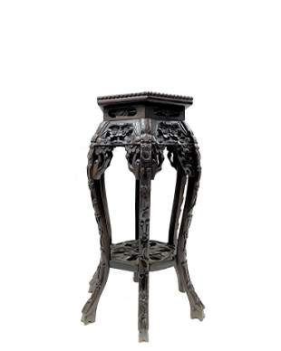 Antique Chinese Marble Top 6 Legs Pedestal Table