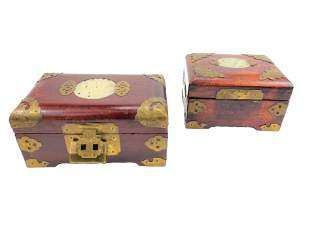 Two Chinese Wood Boxes with Jade Plaque
