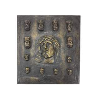 The 12 Apostles and Jesus Bronze Plaque Signed