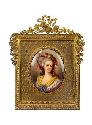 Antique 19 Century Portrait Miniature Plaque
