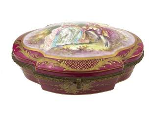Antique French Red Sevres Porcelain Box