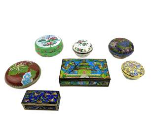 Lot of Seven Chinese Enamel Boxes