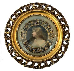 Antique Royal Vienna plate with wooden frame.