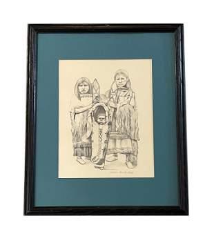 "Paula Beck Modern Lithograph ""Kiowa Girls"""