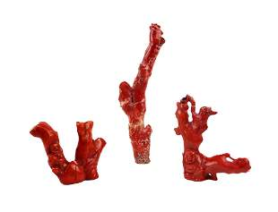 Three Hand Carved Chinese Red Coral Figures