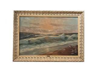 O. Waar Oil on Canvas Seascape Painting