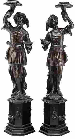 Pair of Continental Painted Wood Blackamoor Torchieres