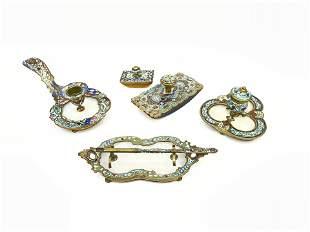 19th Century Five Pieces Champleve Desk Set