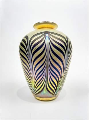 Chris Heilman Iridescent Art Glass Vase 1982