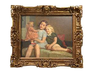 Signed Barbier Oil Painting 'Girls and Their Doll'
