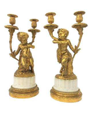 A Pair of Louis XV Style Gilt Bronze and Marble