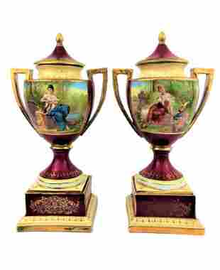 Pair of Royal Vienna Porcelain Vases