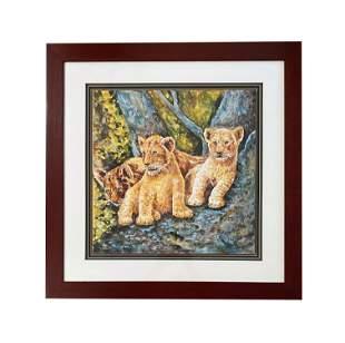 Mid Century Hand Painted Baby Lion Porcelain Plaque