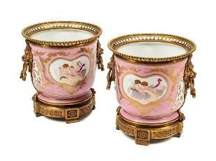 Pair of Sevres Gilt Bronze Mounted Porcelain