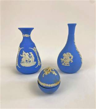 Lot of Three Carved Wedgwood Pieces
