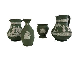 Lot of Four Carved Wedgwood Pieces