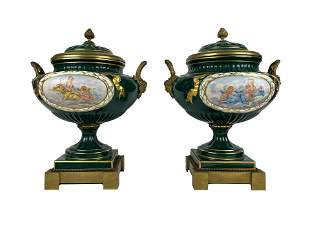 Pair of French Sevres and Bronze Mounted Porcelain