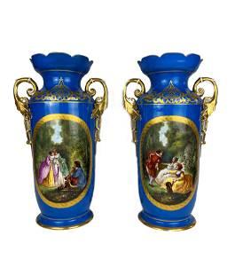 Pair Old Paris Porcelain Mantle Vases