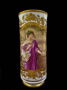 KPM Porcelain Vase with Painting After Conrad Kiesel