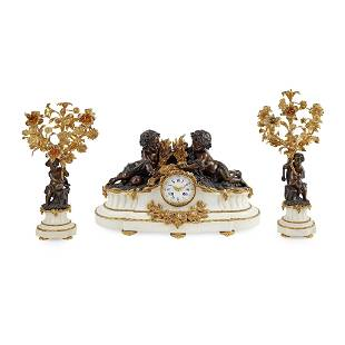 French Gilt and Patinated Bronze and Marble Clock