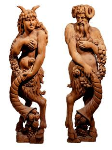 Pair of Continental Carved Wood Bacchic Figures