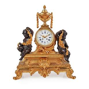 Large French Gilt and Patinated Bronze Mantel Clock