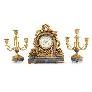 French Gilt Bronze and Blue Turquin Marble Clock