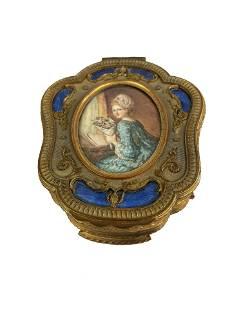 Antique Bronze Box with Plaque Signed Fragonard