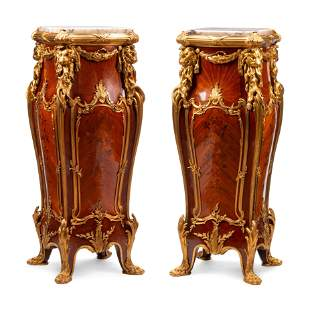 Pair of Louis XV Gilt Bronze Mounted Marquetry